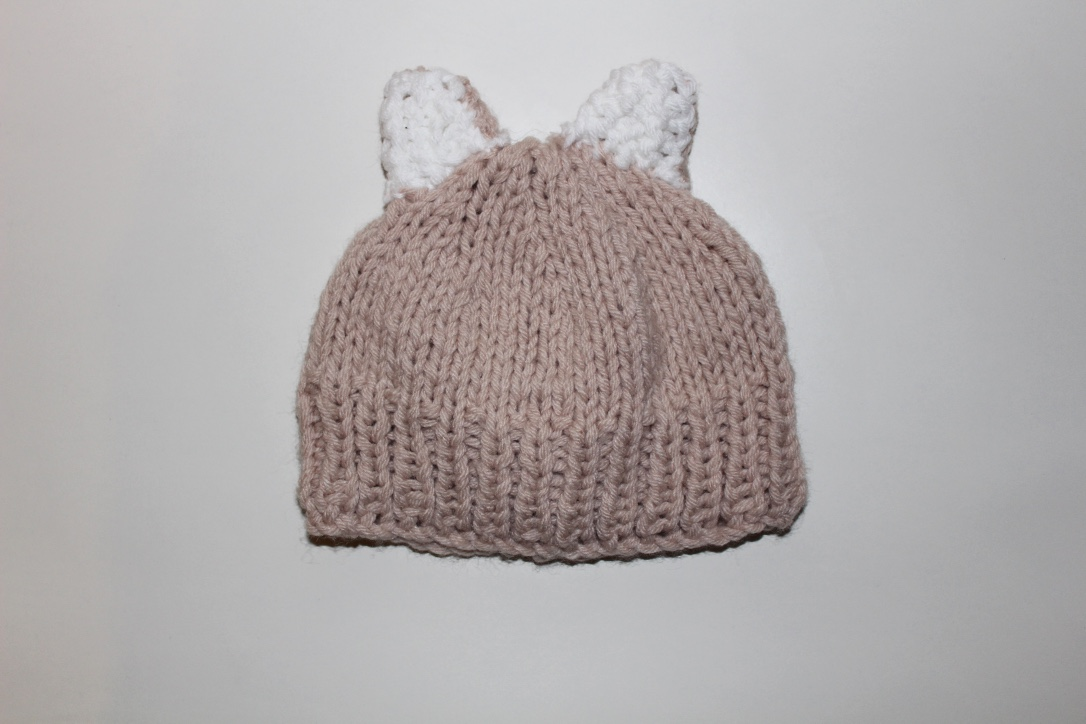 hand knitted hat with ears